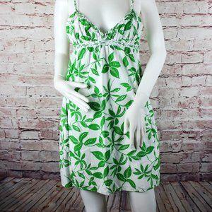 Women's Summer Dress White &  Green Floral Small